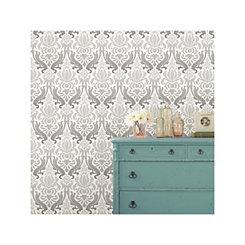 Gray Nouveau Damask Peel and Stick Wallpaper