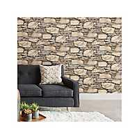 Hadrian Stone Wall Peel and Stick Wallpaper