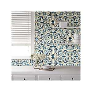 Blue Florentine Tile Peel and Stick Wallpaper
