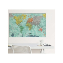Aquarelle World Map Dry Erase Wall Decal
