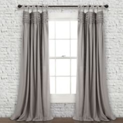 Gray Lydia Ruffle Curtain Panel Set, 84 in.