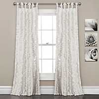 White Sophia Ruffle Curtain Panel Set, 84 in.