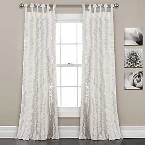 White Sophia Ruffle Curtain Panel Set, 84 in.