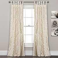 Ivory Sophia Ruffle Curtain Panel Set, 84 in.