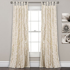 Ivory Sophia Ruffle Curtain Panel Set, 84 in.