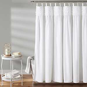 White Lydia Ruffle Shower Curtain