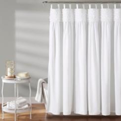 White Lydia Ruffle Shower Curtain