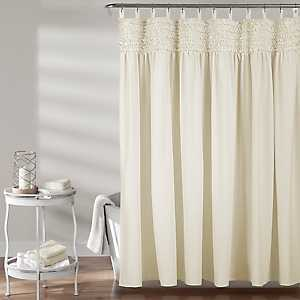 Ivory Lydia Ruffle Shower Curtain