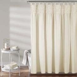 Ivory Lydia Ruffle Shower Curtain