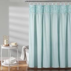 Blue Lydia Ruffle Shower Curtain