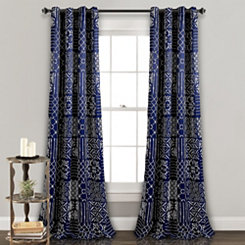 Navy Patchwork Monique Curtain Panel Set, 84 in.