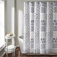 Blue and White Patchwork Monique Shower Curtain