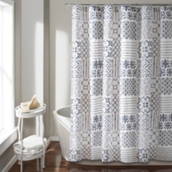Blue and White Patchwork Monique Shower Curtain