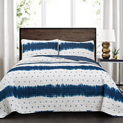 Navy Jane Shibori 3-pc. King Quilt Set