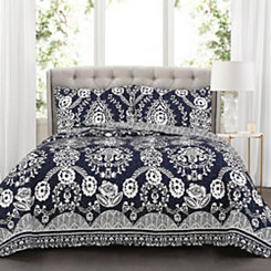 Navy Rosetta Floral 3-pc. Full/Queen Quilt Set