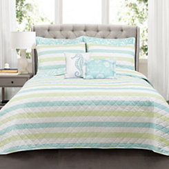 Green Stripe Sea Life 7-pc. Full/Queen Quilt Set