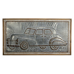 Metal Car Wood Framed Wall Plaque