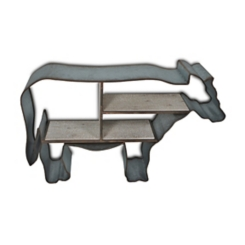 Metal Cow Shaped Frame with Wood Shelves