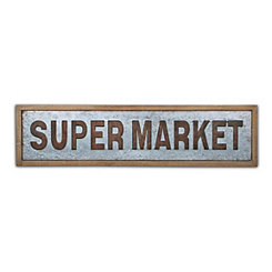 Metal and Wood Supermarket Wall Plaque
