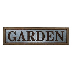 Galvanized Garden Wood Framed Wall Plaque