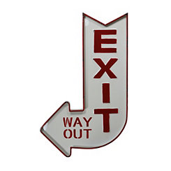 Red and White Lacquered Metal Exit Arrow Sign