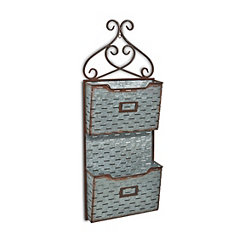 Two-Tier Slatted Metal Wall Storage