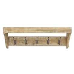 Wood Storage Wall Shelf with Metal Hooks