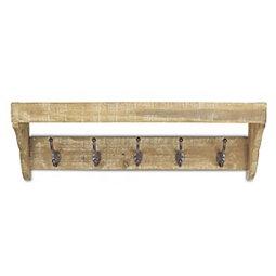 44d69f7d02ae Wood Storage Wall Shelf with Metal Hooks