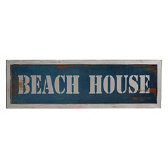 Beach House Framed Wood Wall Plaque