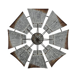 Weathered Metal Windmill Wall Plaque