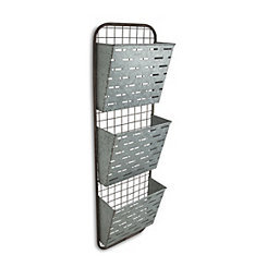Galvanized 3-Tier Metal Wall Storage