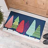 Multicolor Christmas Trees Rubber Mat