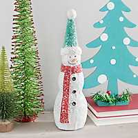Snowman Christmas Statue with Blue Hat