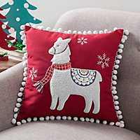 Christmas Llama Pom Pom Pillow