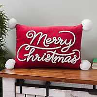 Merry Christmas Pom Pom Accent Pillow