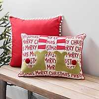 Merry Christmas Elf Legs Accent Pillow
