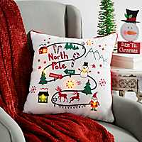 Pre-Lit North Pole Map Pillow