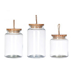 glass with wood lid canisters set of 3 - Kitchen Canister Sets