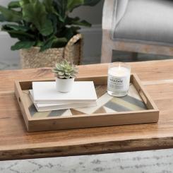 Green Pieced Tones Decorative Tray