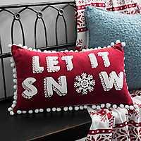 Let It Snow Pom Pom Velvet Accent Pillow