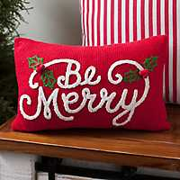 Textured Be Merry Holly Berry Accent Pillow