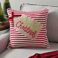 Merry Christmas Tag Striped Pillow