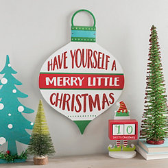 merry little christmas hanging ornament sign - Christmas Wall Decor