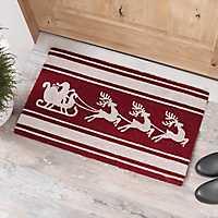 Striped Santa's Sleigh Doormat