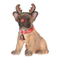 French Bulldog Rudolph Puppy Statue