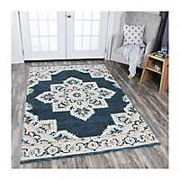 Blue and Tan Reso Central Medallion Area Rug, 5x8