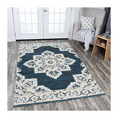 Blue and Tan Reso Central Medallion Area Rug, 8x10