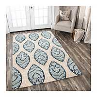 Tan and Blue Reso Medallion Area Rug, 8x10