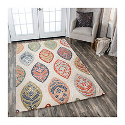 Cream and Multicolor Reso Medallion Area Rug, 5x8