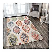 Cream and Multicolor Reso Medallion Area Rug, 8x10